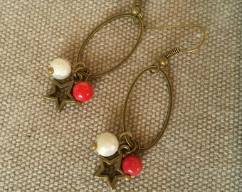 Coral beads and white stone earrings