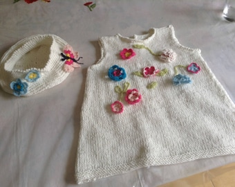 """White set in pure cotton dress and beret """"Spring floral"""" 1 year (+ or - following stature)"""