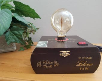 Cigar box light, edison light, lamp