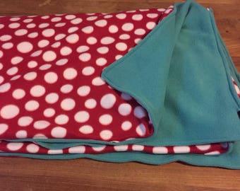 Red & white polka dot/turquoise fleece blanket