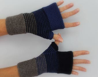 knitted mittens handmade Royal Blue, Navy and gray marronne