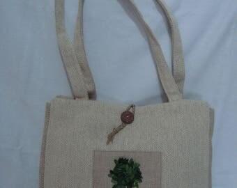 Unique chevron linen handbag