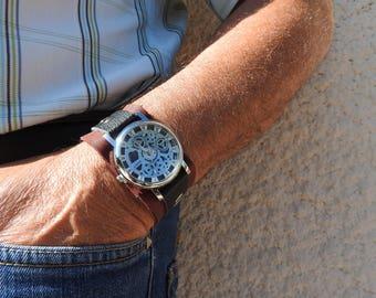 Men's Burgundy leather strap watch