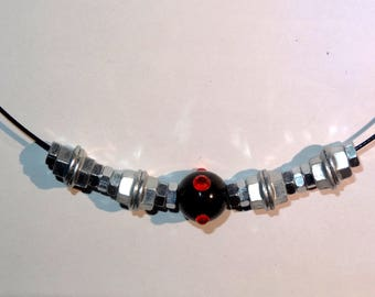 "Whimsical and unique Choker necklace ""Nut"" red color"