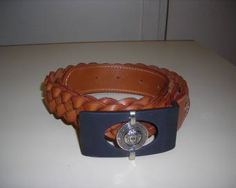 Women leather belt braided four strand light brown.