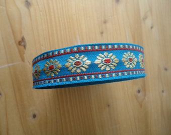 1 m 2cm cotton woven floral red, blue woven Ribbon
