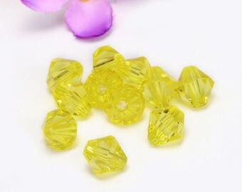 10mm yellow bicone glass beads #3d