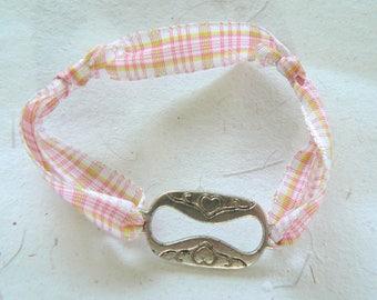 child size bracelet silver heart charm pink fabric