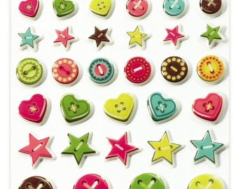 """Stickers Cooky relief """"Buttons"""" x 40 - MAILDOR - Ref 560359"""