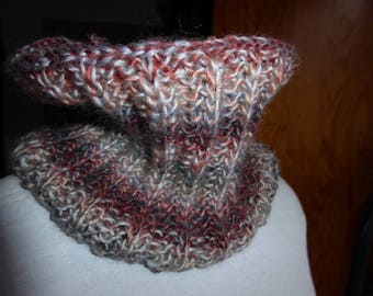 Snood handknitted shades of beige and Brown