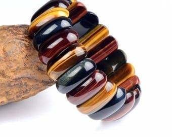 Beautiful Tiger eye gemstone elastic bracelet, Bull's eye, Hawk Eye