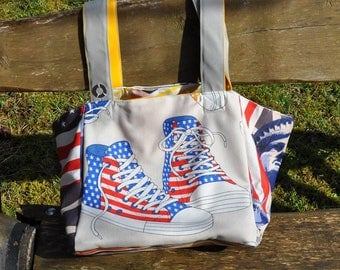 large tote bag reversible with cheerful colors