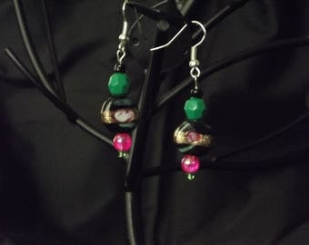Black green and gold stone earrings