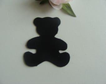 leather applique bear Black 7 * 6, 3 cm