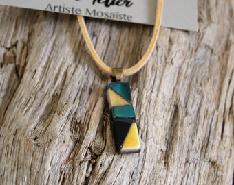 "Mini rectangle necklace ""Nile"" mosaic"