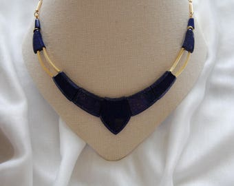 Lapis lazuli necklace is adjustable in length