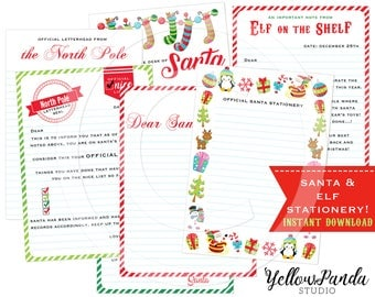 Santa Stationery, Santa Notes, Elf on the Shelf, Elf Notecards, Printable Christmas Cards, Holiday Cheer, INSTANT DOWNLOAD