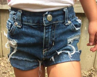 Hand distressed dark wash denim shorts size 18-24 months