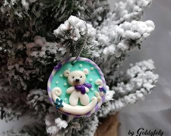 Decorative Christmas Mr the bear fleece Kawaii polymer clay