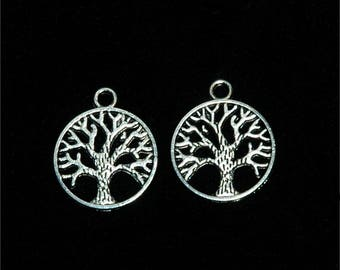 10 charms antique silver 'tree of life' round #684 24x20mm