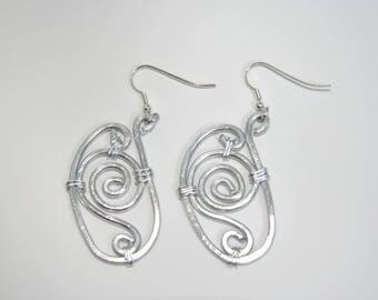 Large hoop earrings silver pattern - aluminum - handmade