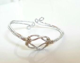 Modern silver - aluminum wire - handmade