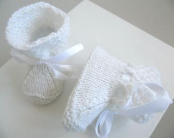 Slippers bottons 1 month rice white knit baby wool