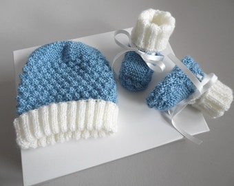 Hat and slippers 1 m - 2 colours blue white light