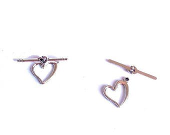 Set of 20 approximately 16x12mm, toogles silver metal heart clasps