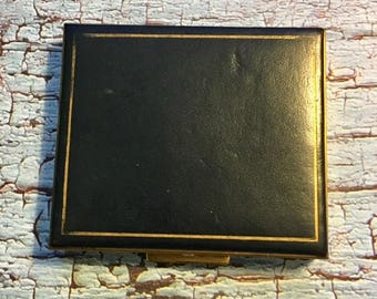 Vintage Metal/Leather Type Compact with Mirror