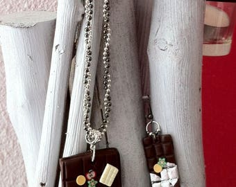 Necklace chocolate bar set silver
