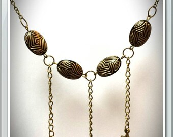 Necklace bronze 4 Brown and black beads