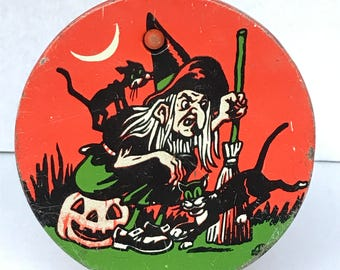 Vintage Halloween Witch Tin Litho Noisemaker by US Metal Toy 1950's