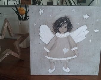 painting Angel on raw linen canvas frame