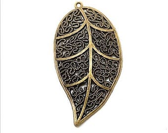 Bronze colored metal leaf charm