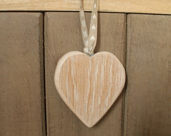 Heart hanging distressed limed oak