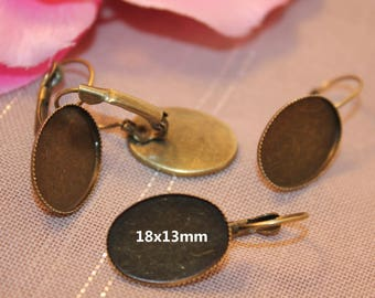 bronze cabochon 18x13mm oval Stud Earrings 5 pairs
