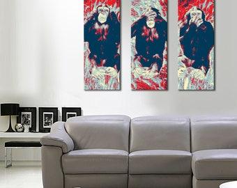 The pop art triptych wise monkeys panoramic 3 x (55 x 120)
