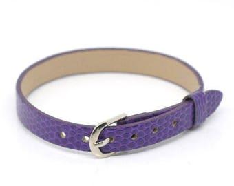 5 bracelet faux leather purple 22 cm loop clasp