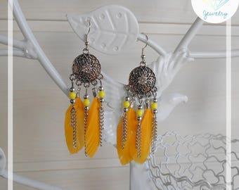Dream catcher earrings dreams yellow feathers