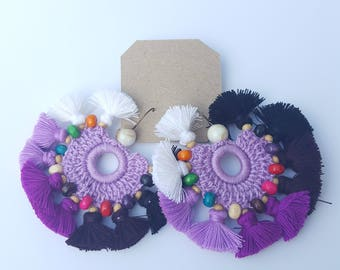 Circular Black, Purple & White Earrings