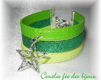 Bracelet cuff 3 rows of faux and glittery green star charm