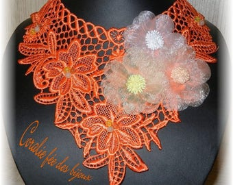Necklace lace macramee fabric flowers and glass beads