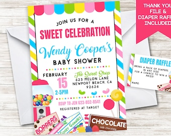 Candy Baby Shower Invite Invitation Digital 5x7 Sprinkle Candy Shop Sweet Shoppe Gumdrop