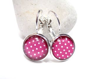 Charming earrings cabochon pink polka dots ● ●