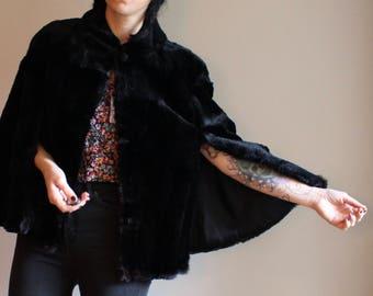 Vintage brown fur cape