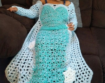 Princess Dress Blanket, Crochet Princess Blanket, Princess dress pattern, Crochet Blanket Pattern, Toddler Princess Crochet Pattern , PDF