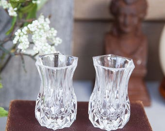 Pair of Crystal Vases, Violet vase in Longchamp (Clear) by Cristal D'Arques, France