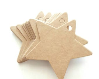 15 kraft star tags size 6 x 6 cm for embellishment and creation