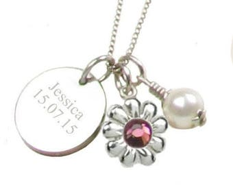 Heart To Heart Sterling Silver Disc, Crystal Flower & Freshwater Pearl Necklace